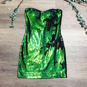 2/$20 As You Wish Sequin Strapless Mini Dress